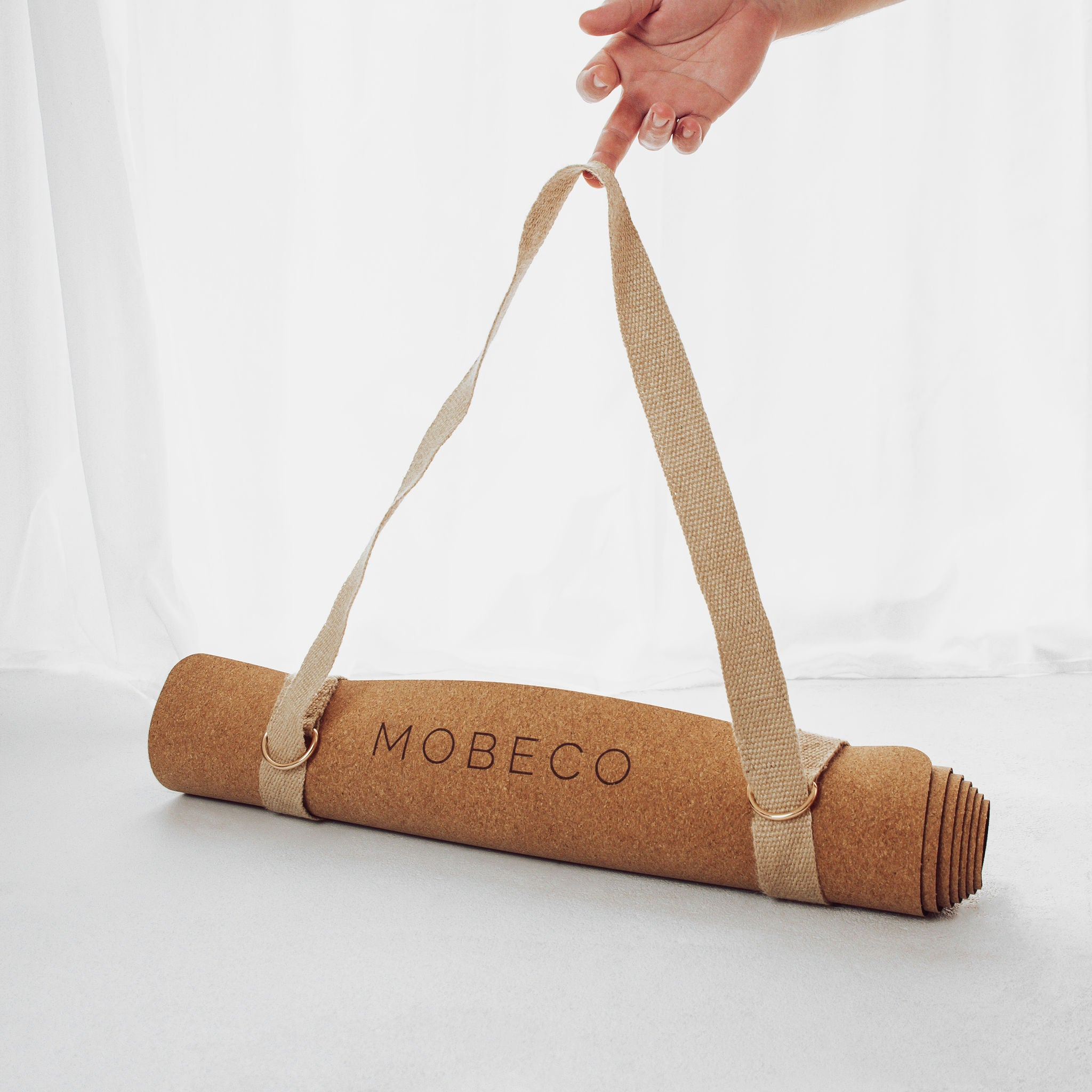Toitū Natural Cork Yoga Mat, made by MOBECO