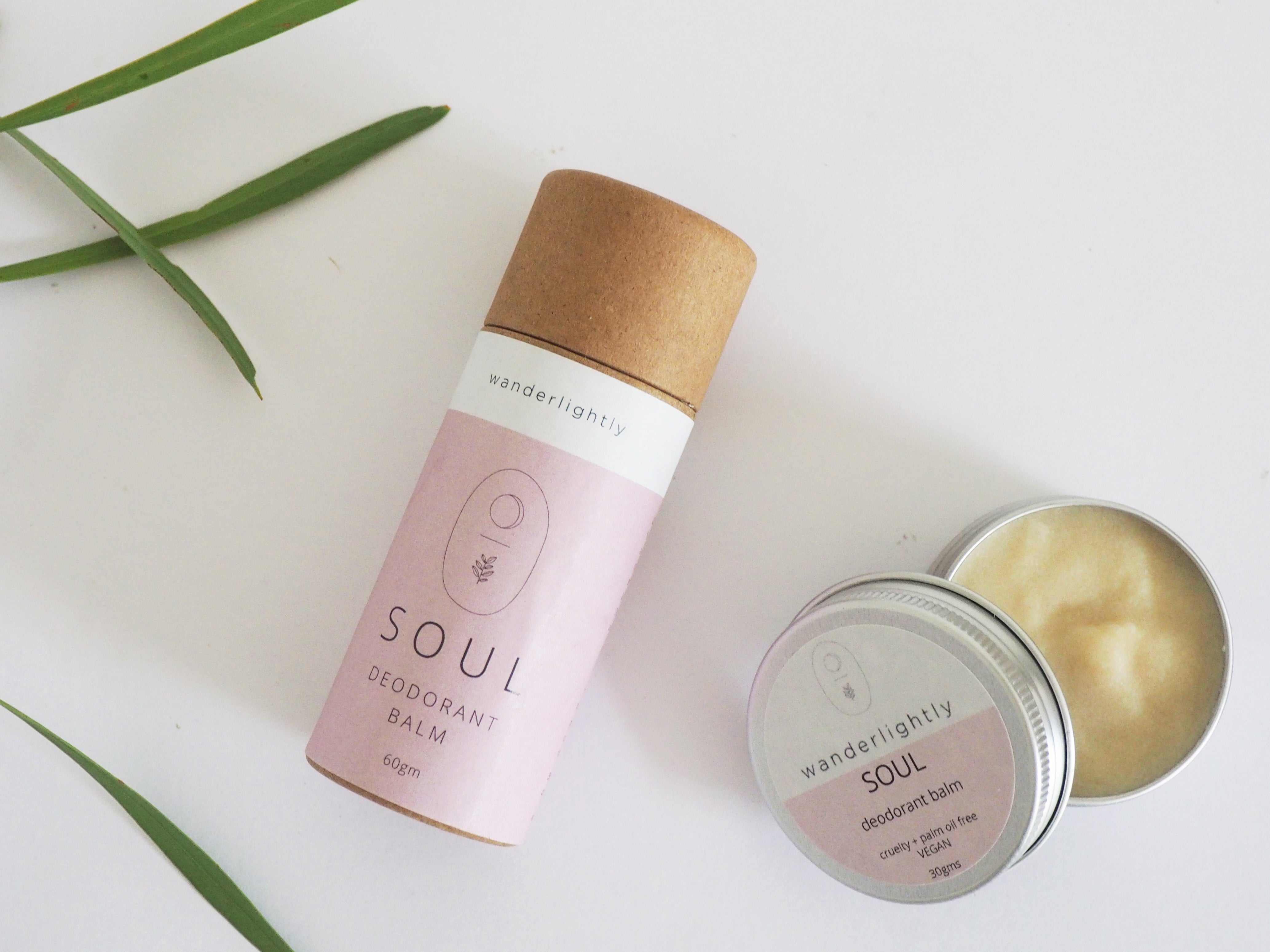 SOUL Deodorant Balm in 60g compostable push tube and 30g plastic free tin.