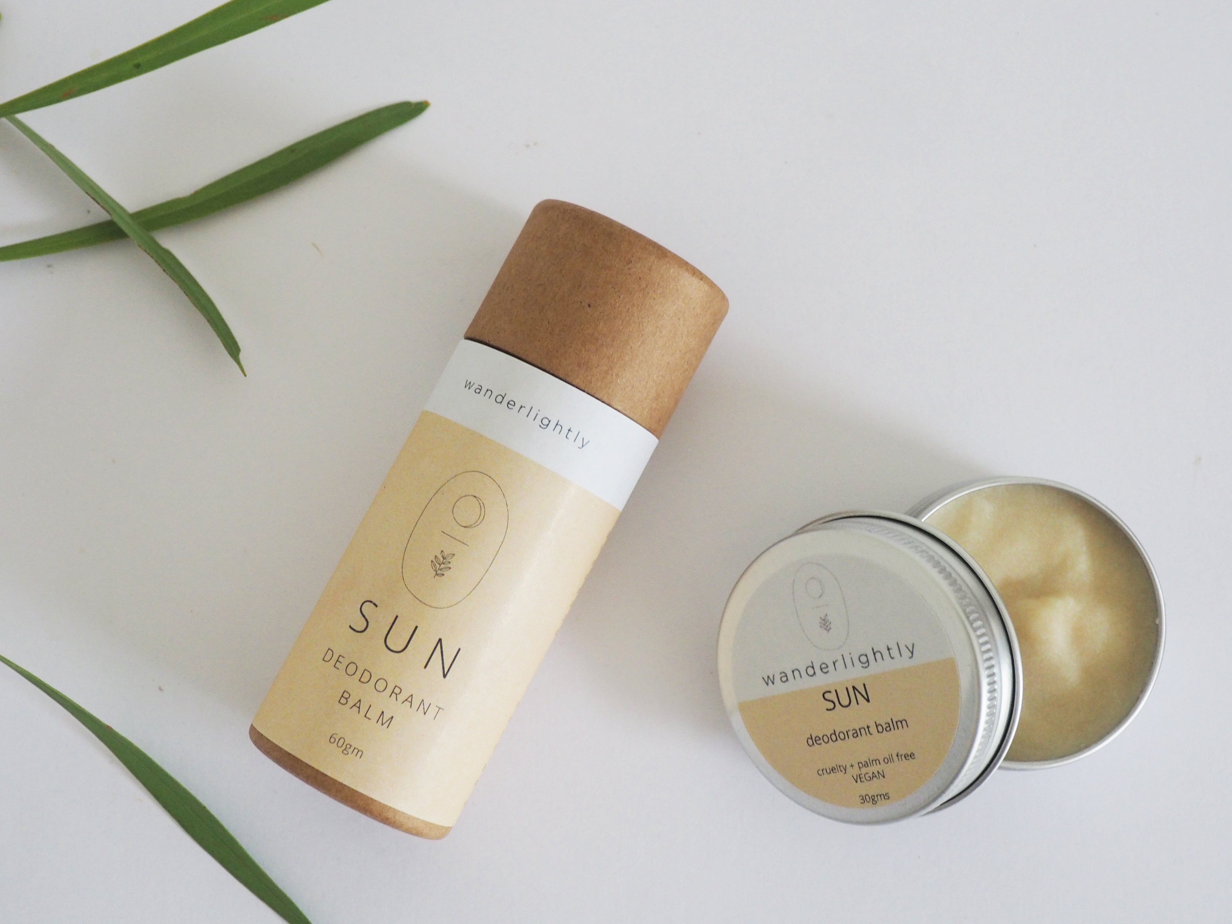 SUN Deodorant Balm in 60g compostable push tube and 30g plastic free tin.