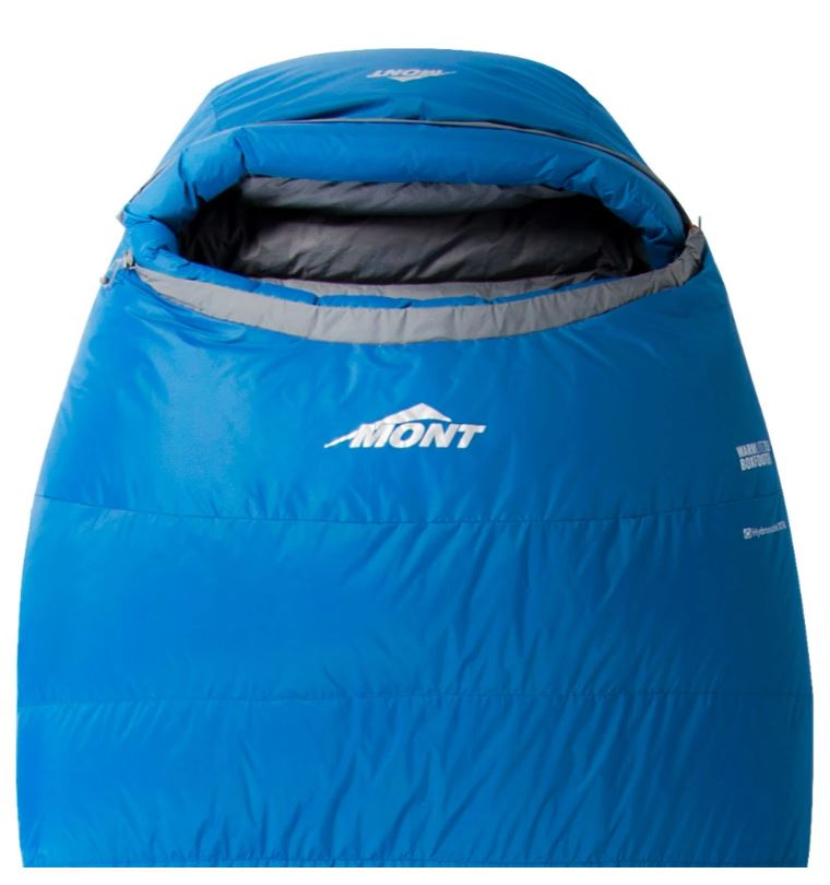 Top of a blue and grey sleeping bag