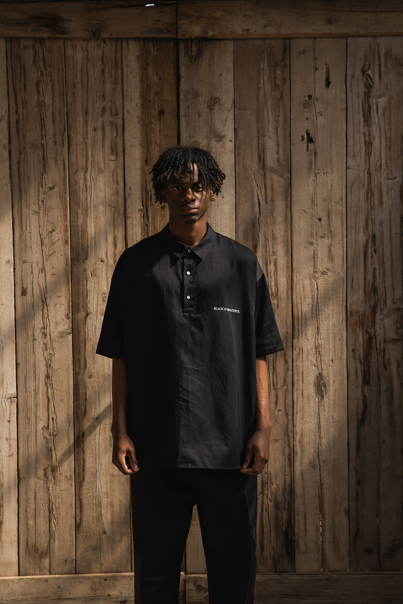 OVERSIZED BOWLING TWILL SHIRTS BLACK