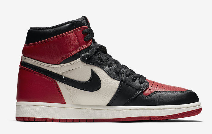 Air Jordan 1 High OG Bred Toe. SRC: sneakerfiles.com