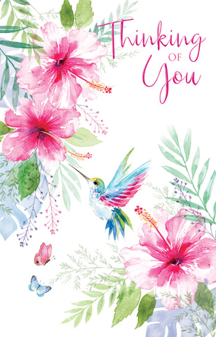 Pretty Thinking of You Greeting Card with exotic flowers