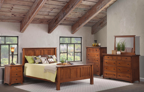 rustic solid wood bedroom furniture set american made dresser mirror chest