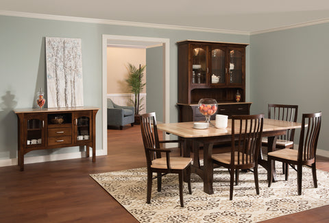 monarch rustic modern sherry dining room set china cabinet cherry maple hickory