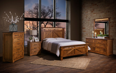 rustic modern solid wood furniture with lighting bedroom cherry hickory oak