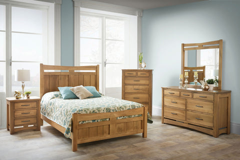 rustic hickory american made solid wood bedroom set mirror dresser chest