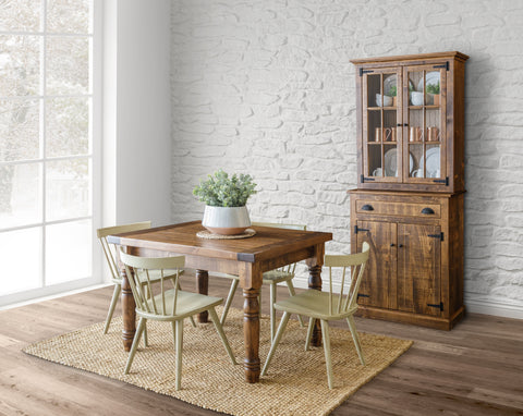 rustic modern casual dining china cabinet table chairs