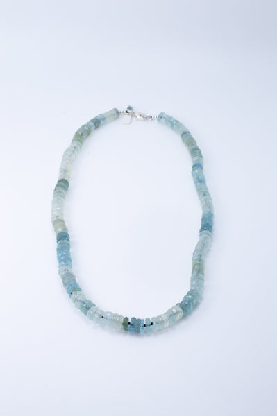 Aquamarine Bead Hand Knotted Silk Cord Necklace