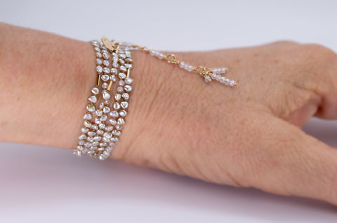 Akoya Saltwater Pearl Wrap with Zircon Gemstone and Solid 14k Gold