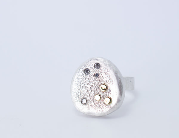 Recycled Sterling Silver Statement Ring with 18k Gold and Champagne Diamonds