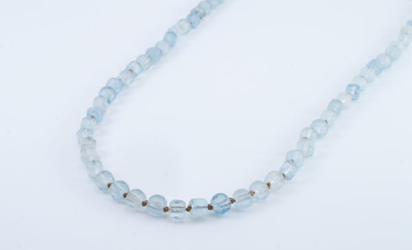 Aquamarine Necklace, Hand Knotted Cubed Gemstones