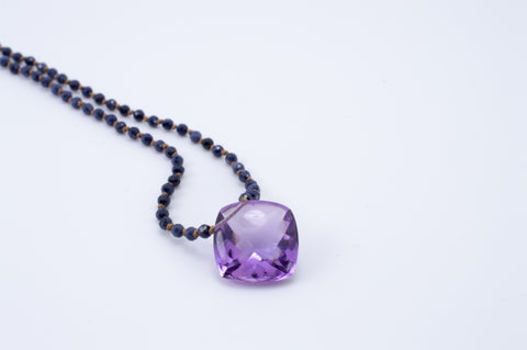Amethyst with Blueberry Sapphire Necklace