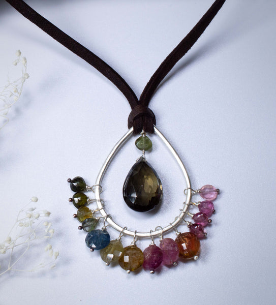 Multicolor Tourmaline Gemstones and Leather Necklace