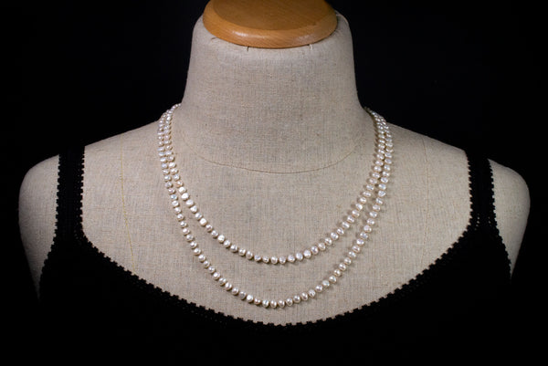 Freshwater Pearl Wrap, Long knotted Pearl Necklace