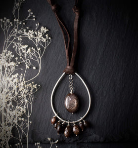 Chocolate Brown Sapphire Necklace on Deer Hide Suede Leather
