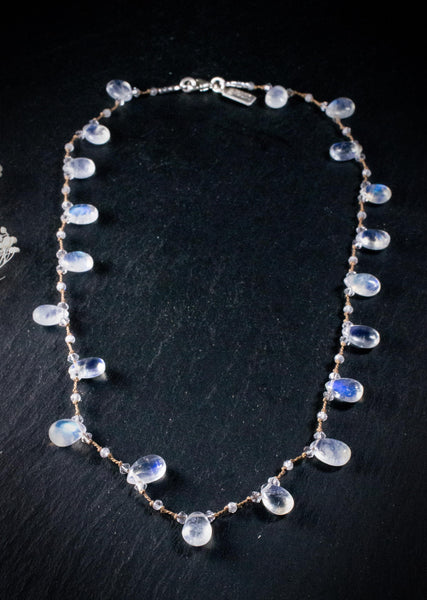 Rainbow Moonstone Hand Knotted Artisan Necklace