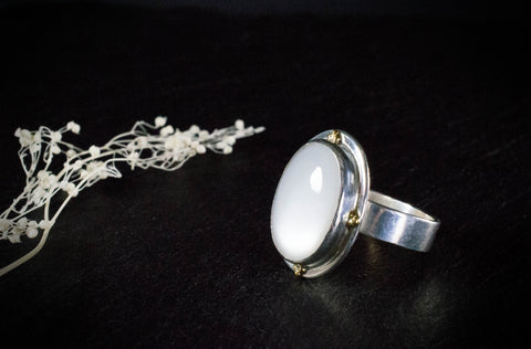 Glowing White Moonstone Statement Ring