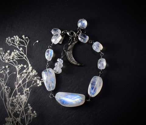 Rainbow Moonstone Bracelet with Diamond Pave Crescent Moon Charm