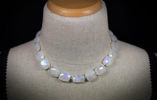Rainbow Moonstone Necklace with Solid 14k Gold
