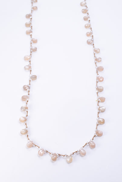 Shimmering Long Moonstone Wrap Necklace