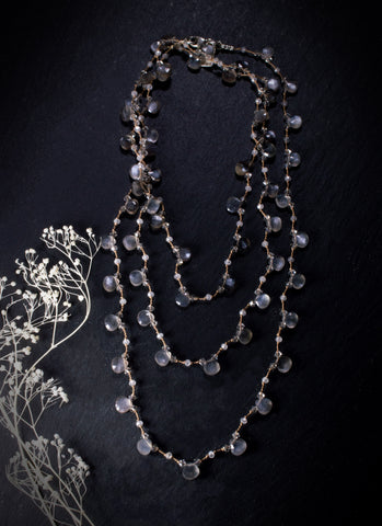 Grey Moonstone Wrap Knotted Silk Necklace