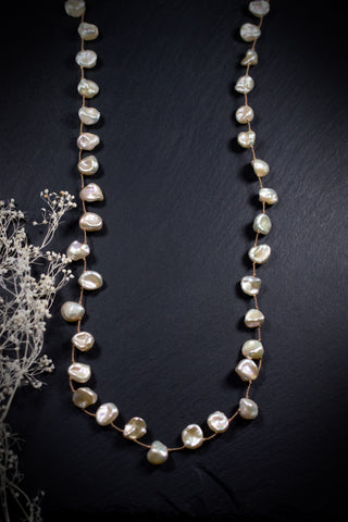 Keshi Pearl Long Wrap Necklace