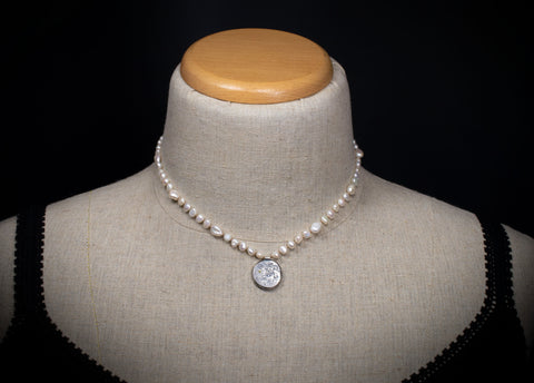 La Luna Pendant with Freshwater Pearls