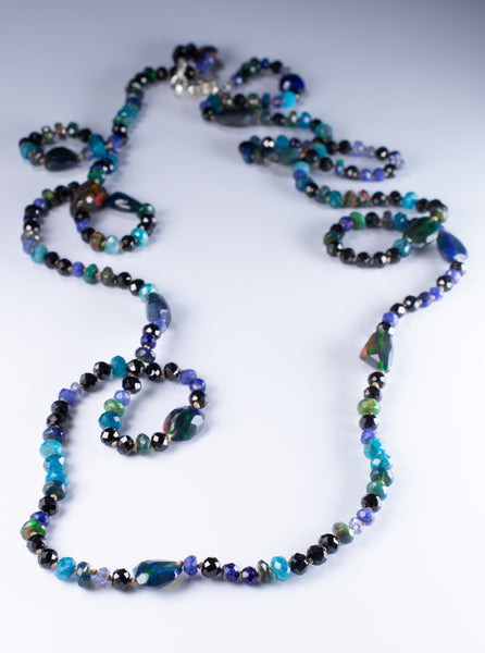 Hand Knotted Black Opal and Gemstone Necklace