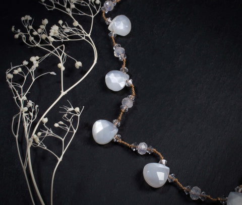 Shimmering White Moonstone Necklace
