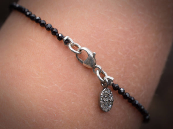 Black Spinel Bracelet With Pave Diamond Charm