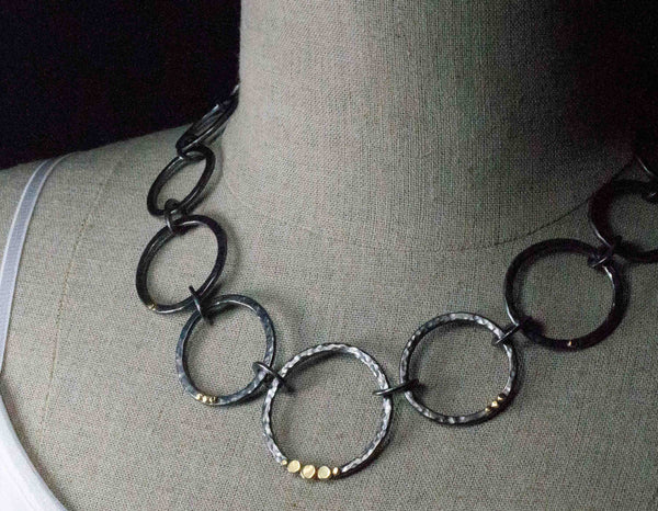 Hand Forged Sterling Silver Hoop Necklace with 18k Gold