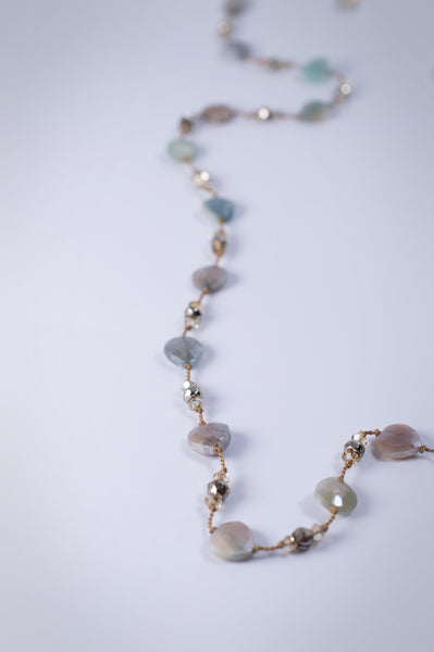 Gemstone and Knotted Silk Cord Necklace