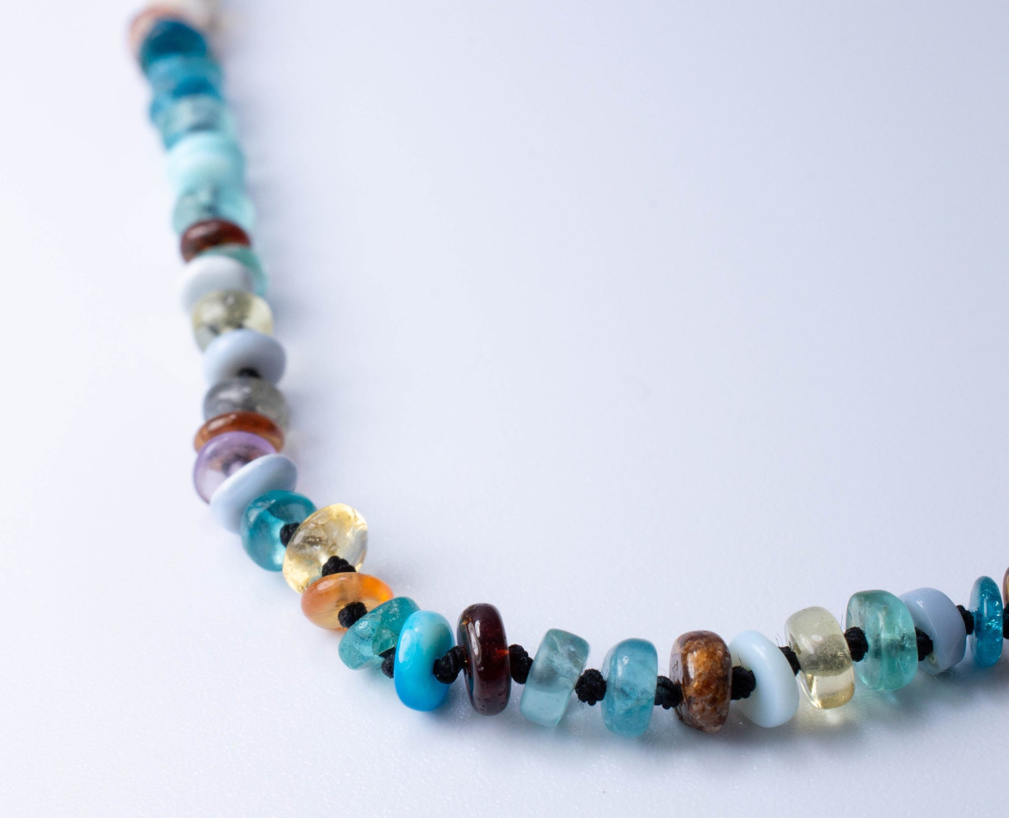 Very long Colorful Gemstone Mix Wrap Necklace