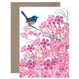 Blue Wren on Geraldton Wax Card