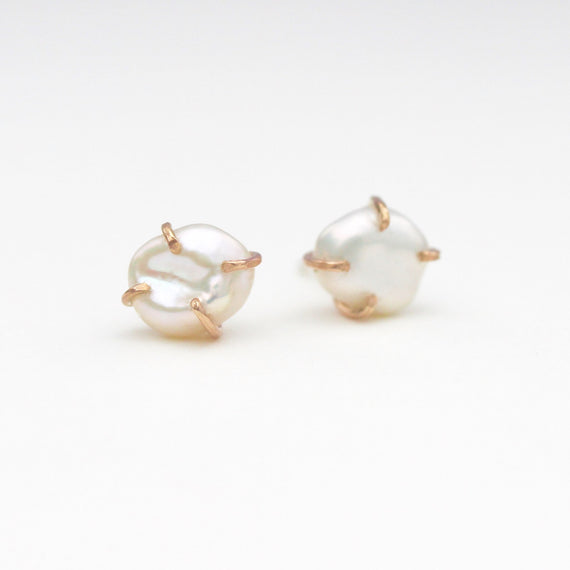 White Pearl Raw Stud Earrings