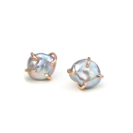 Grey Pearl Raw Stud Earrings