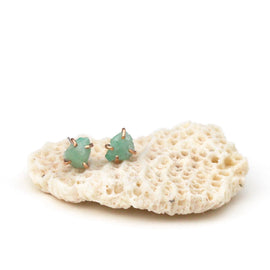 Emerald Raw Stud Earrings
