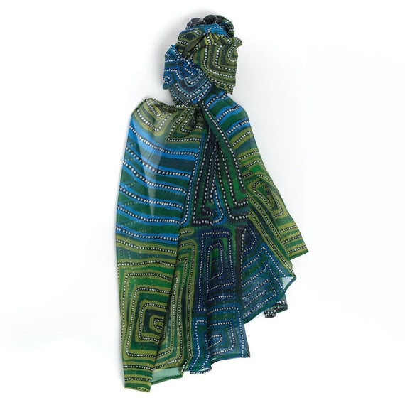 Natures Ants Blue Silk Scarf