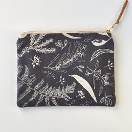 Gathered Charcoal Flat Pouch