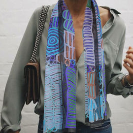 Awelye and Bush Melon Purple/Green Scarf