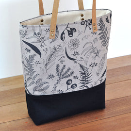 Gathered Black on Grey Lined Tote