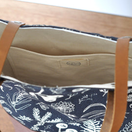 Gathered Natural on Charcoal Lined Tote