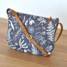 Gathered Charcoal Shoulder Bag