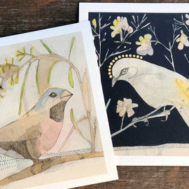 Black-throated Finch and Acacia Print