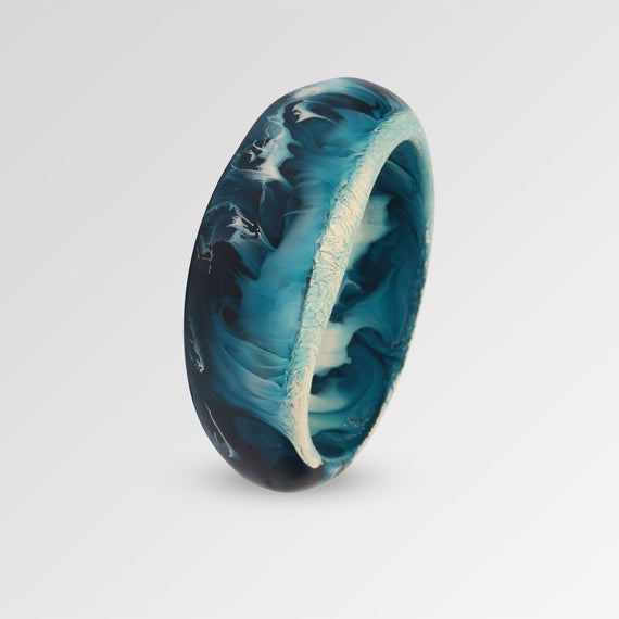 Large Resin Organic Bangle - Cool Tones