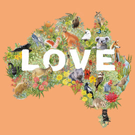 Australia Map Love Card