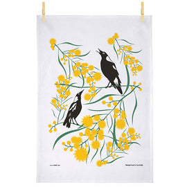 Magpies on Wattle Tea Towel