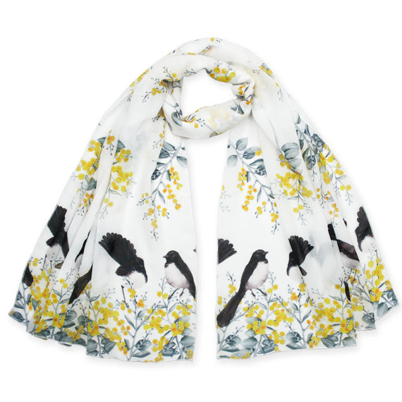 Willie Wagtail and Wattle Scarf
