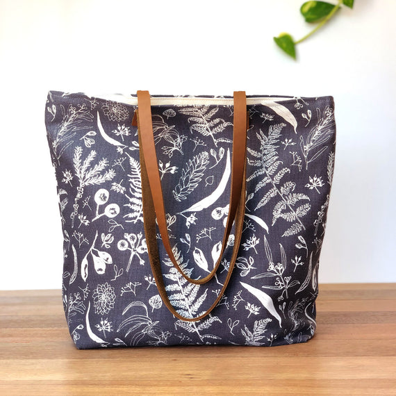 Gathered Natural on Charcoal Large Tote
